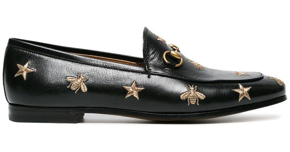 56d85e5a8 Gucci Jordaan Embroidered Leather Loafer in Black - Lyst