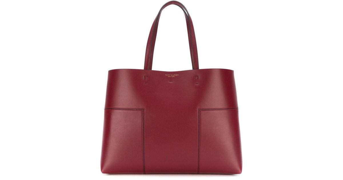 e2af7a21d57 Lyst - Tory Burch Block-t Tote Bag in Red