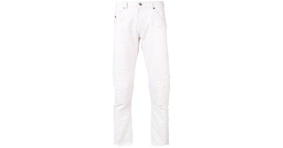 9b84a292 Lyst - Diesel Black Gold Slim Distressed Jeans in White for Men