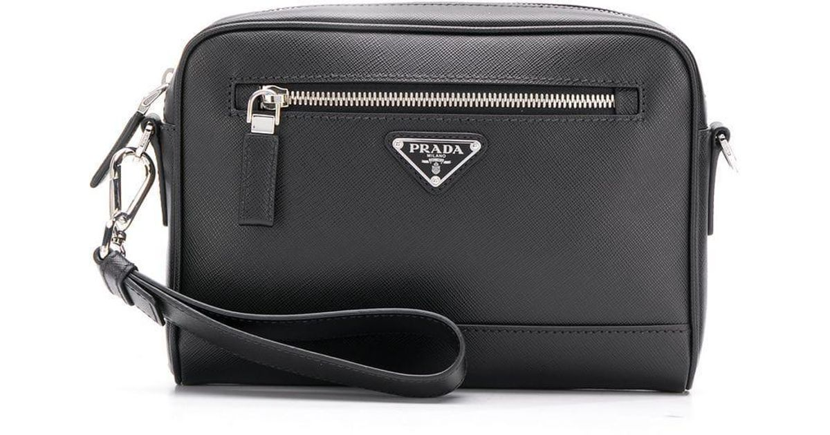 e7ba1d455a3c sale lyst prada saffiano leather camera bag in black for men 1d5d9 5283b