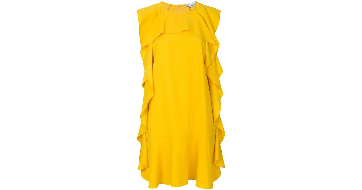 amarillo con Valentino Ahorra 64 corto vestido volante en Lyst de Red 17910447761194 ribete qzI4I1w