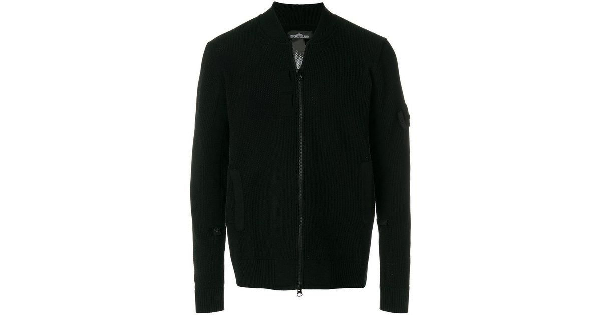 f66b126f3 Stone Island Shadow Project - Black Knit Bomber Jacket for Men - Lyst