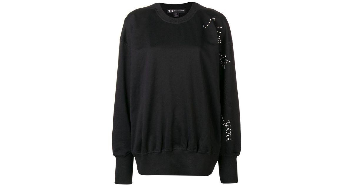 d44f38485 Lyst - Y-3 Adidas X Yohji Yamamoto Sashiko Slogan Sweater in Black
