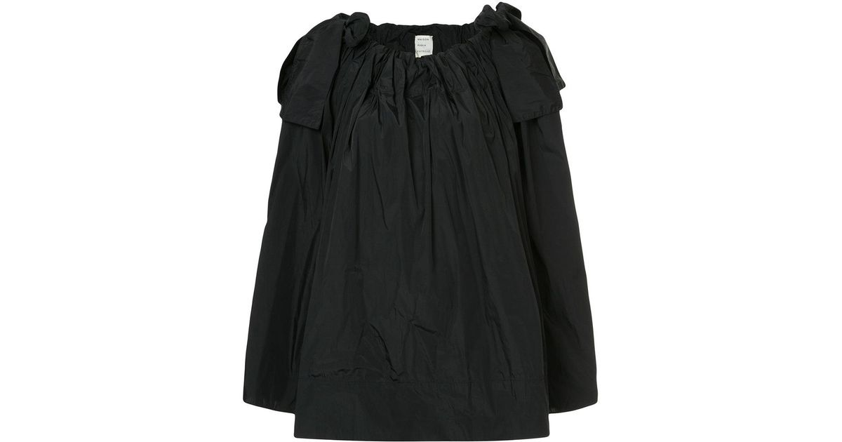paper bag flared blouse with bow details - Black Maison Rabih Kayrouz Free Shipping Cheapest Price Kh6B8