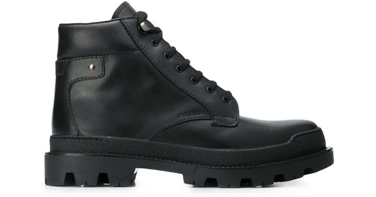 ac89ced8b31 Prada - Black Lace-up Hiking Boots for Men - Lyst