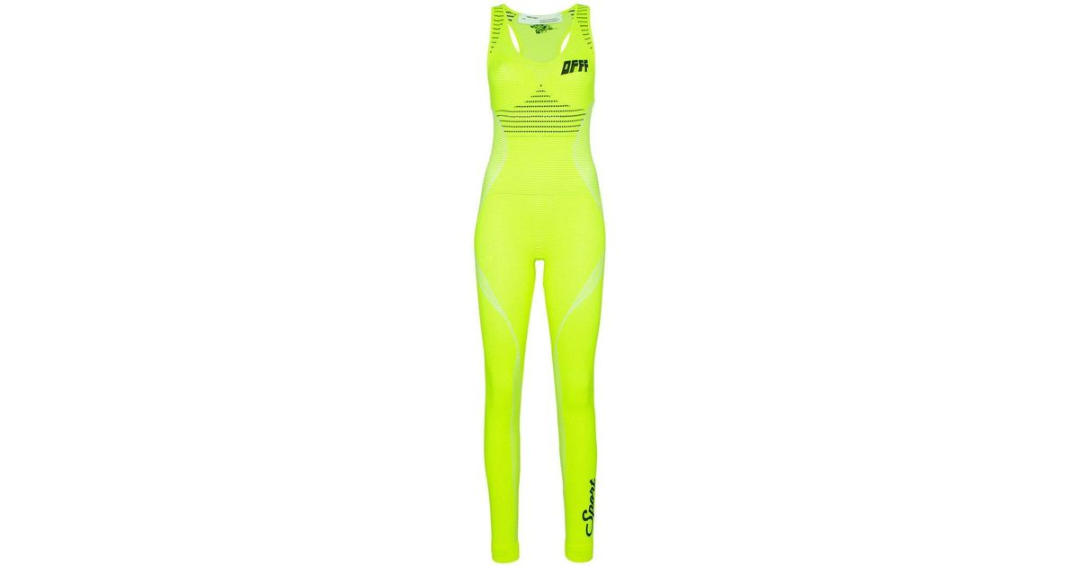 30f0dfe1e436 Lyst - Off-White c o Virgil Abloh Sleeveless Racerback Knitted Jumpsuit in  Green