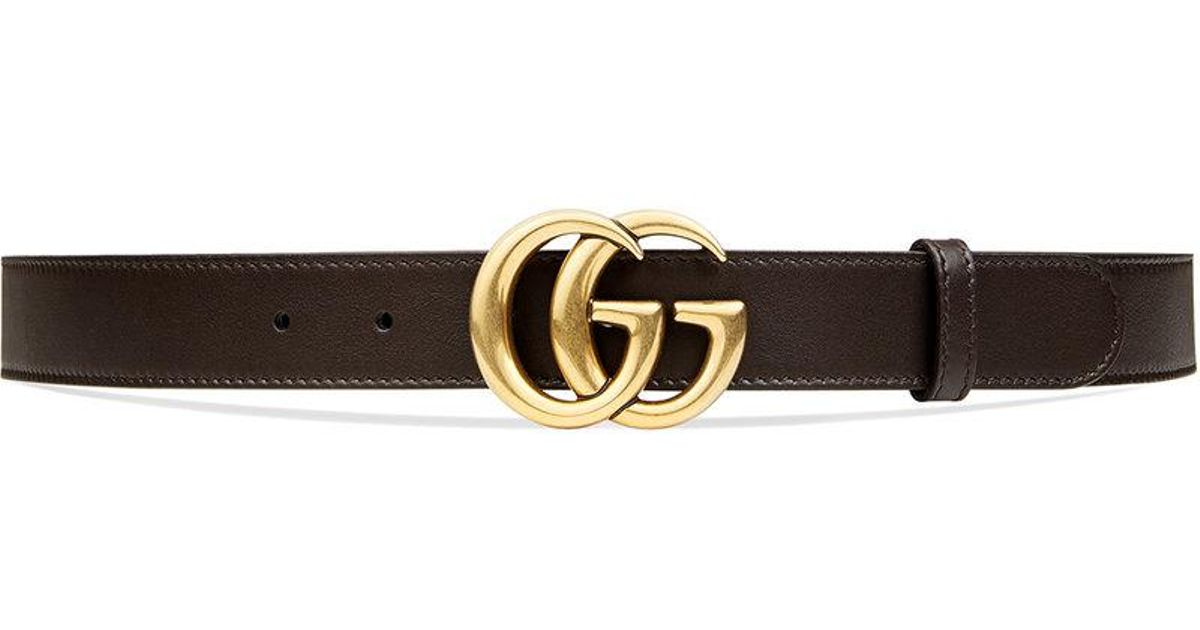 aa25b648d Lyst - Gucci Leather Belt With Double G Buckle in Brown for Men