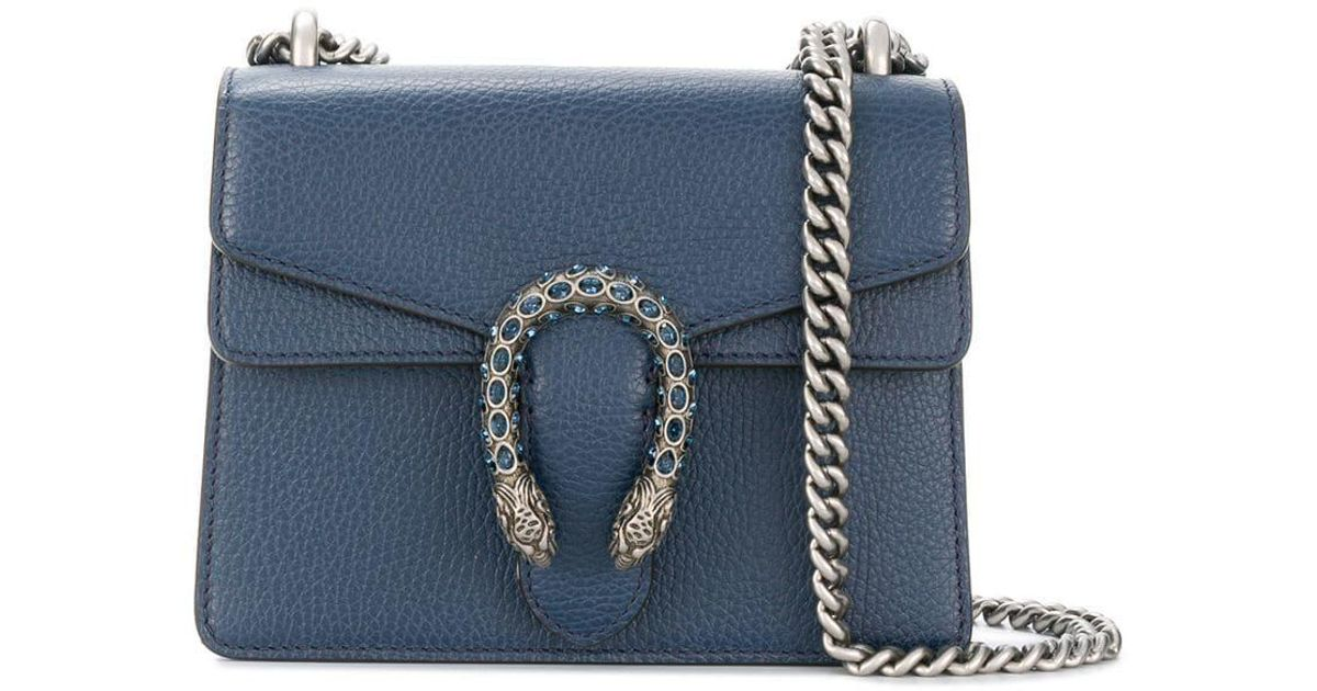 989abd61f2c1 Gucci Dionysus Leather Mini Bag in Blue - Lyst