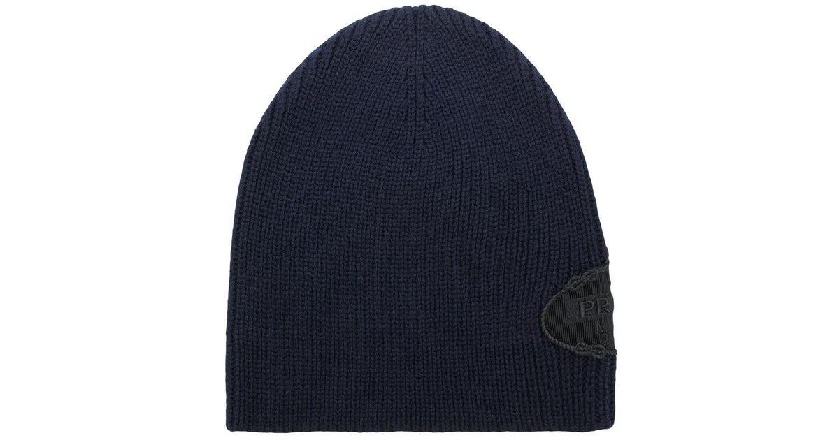 70736098baa Lyst - Prada Logo Knitted Beanie Hat in Blue for Men