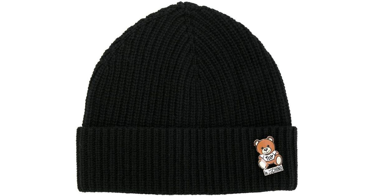 Moschino Ribbed Teddy Pin Beanie in Black - Lyst 9c420f9200e
