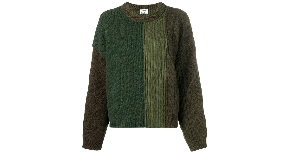 Lyst - Acne Studios Cable Knit Mix Sweater in Green 6e7d5a375bc