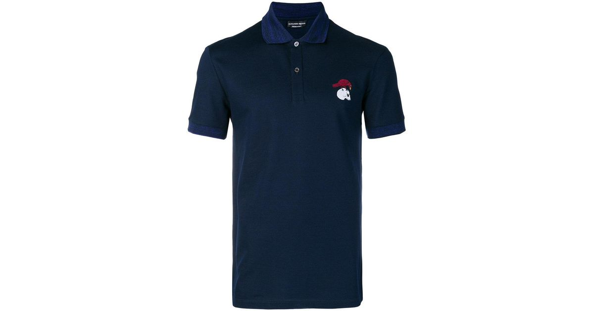 8edcd21b5 Lyst - Alexander McQueen Bird And Skull Embroidered Polo Shirt in Blue for  Men
