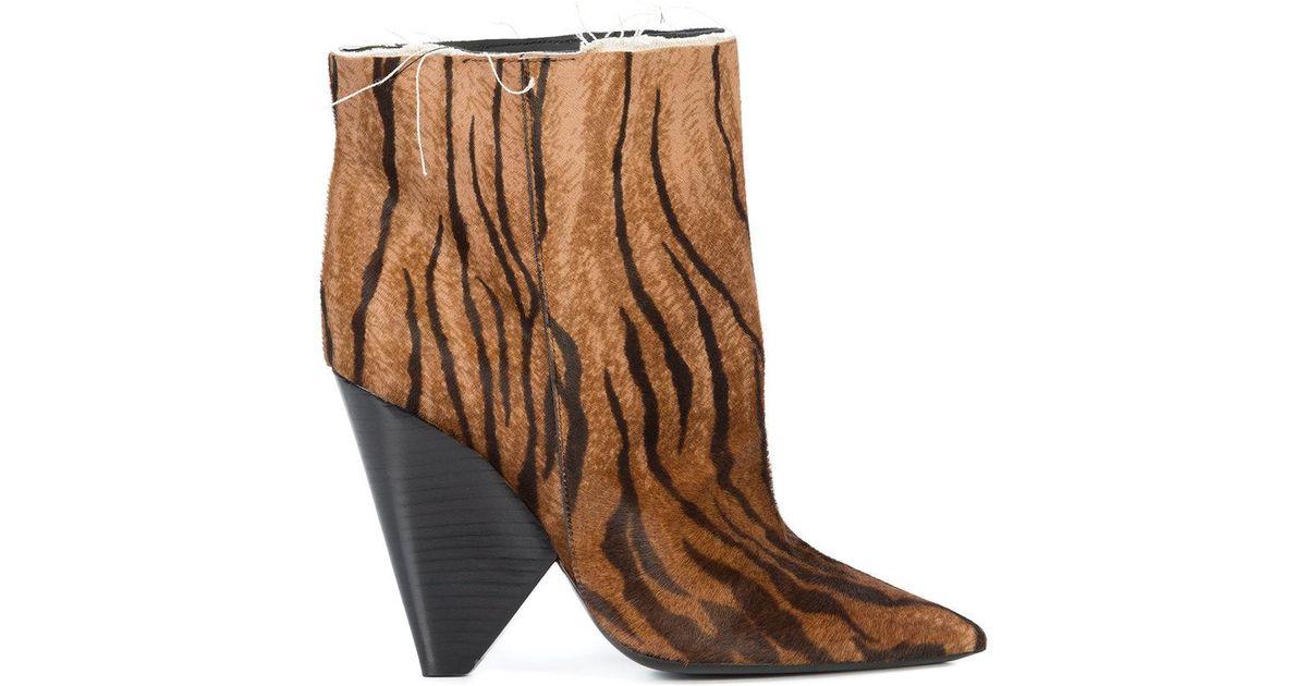 85e9b2eee2 Lyst - Saint Laurent Tiger Print Boots in Brown