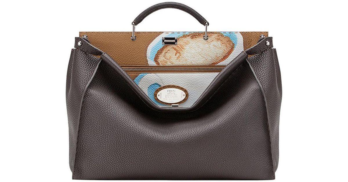 ... amazon fendi peekaboo tote bag lyst fendi printed peekaboo tote bag in  brown for men 34b41 ... 3f14101b33d66