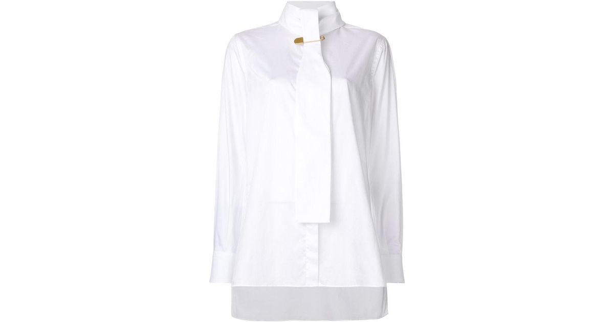 d7ba8093b2da23 Burberry Safety Pin Tie Shirt in White - Lyst