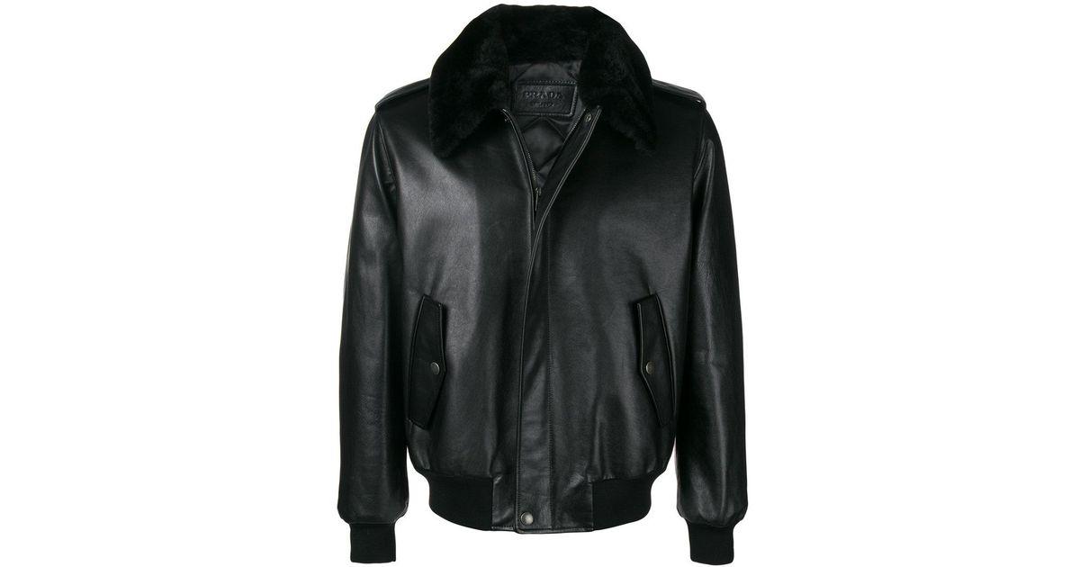 Black In Fur For Jacket Lyst Men Collar Prada Leather awUSnqYR