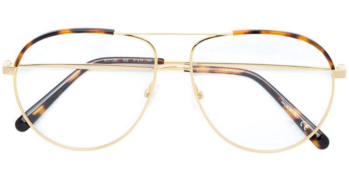 Lyst - Stella Mccartney Aviator Framed Glasses in Metallic