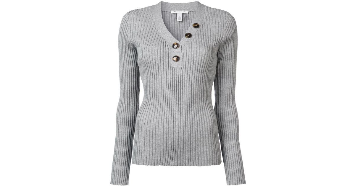 b5fb9a7af00 Autumn Cashmere - Gray Rib Button Up Sweater - Lyst