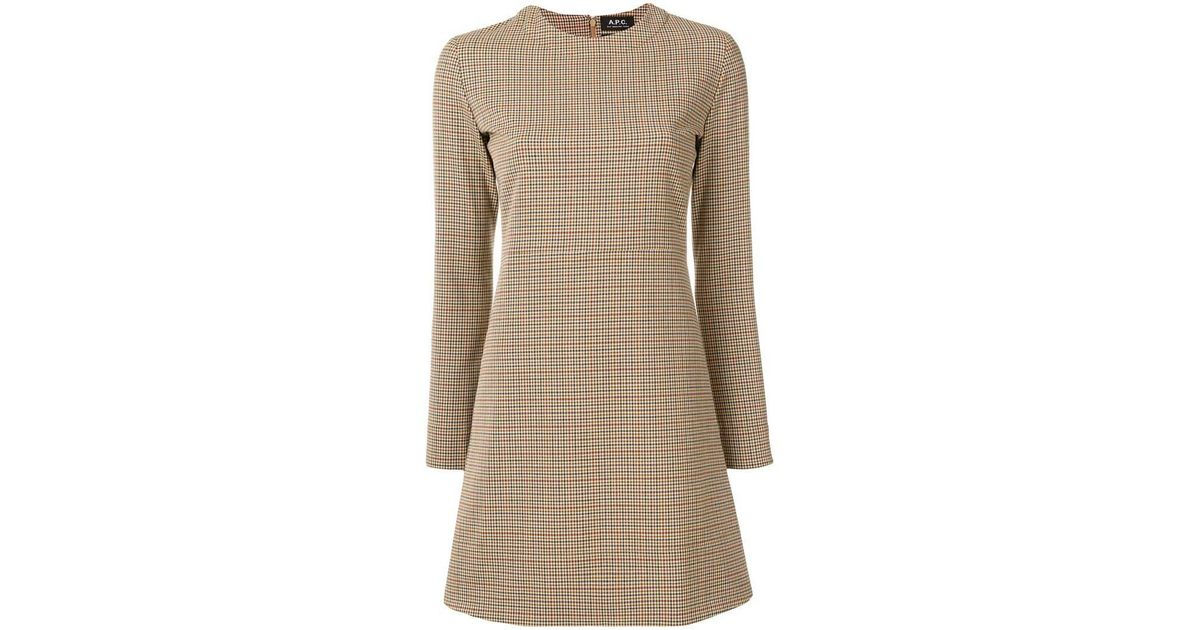 1a446317cee21 A.P.C. Maddy Checked Mini Dress in Natural - Lyst