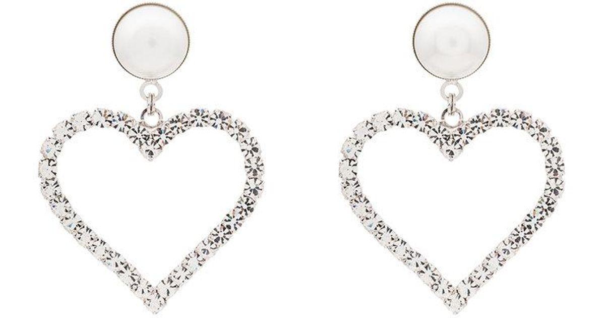 Alessandra Rich Crystal Pearl Embellished Heart Earrings In Metallic Lyst