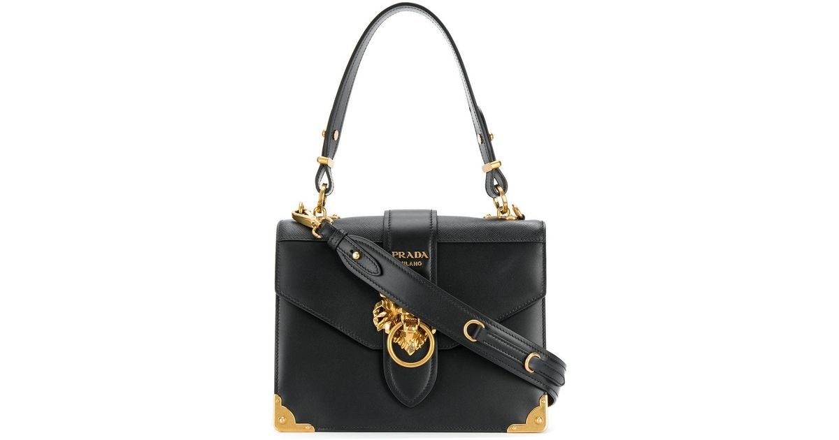 1f3dda162f2a ... wholesale lyst prada cahier lion embellished shoulder bag in black  912ff 575dd