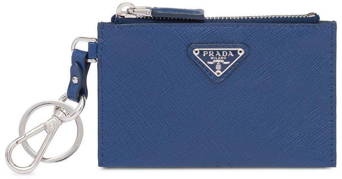 5ba523cfadfa ... shopping lyst prada keychain wallet in blue for men 80adf ef720 ...