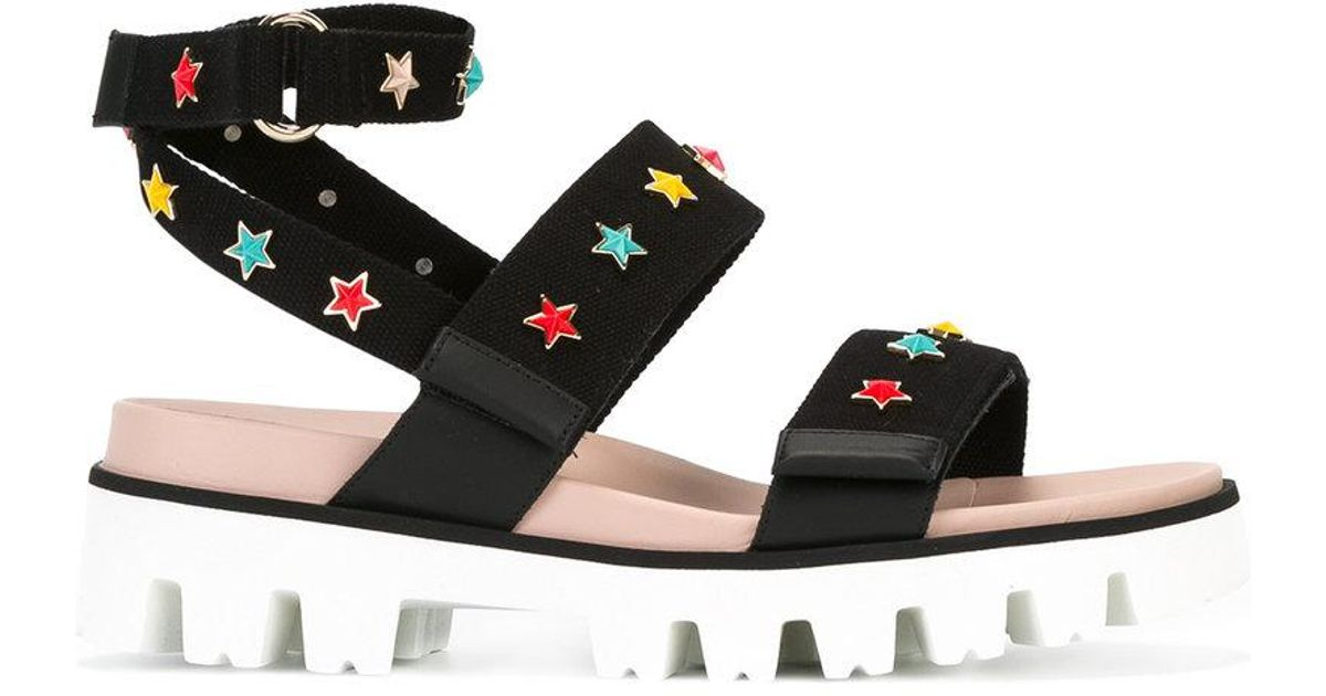 7f13a139e RED Valentino Star Charm Sandals in Black - Lyst