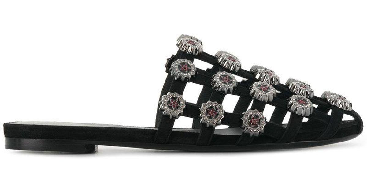 embellished caged flat sandals - Black Ermanno Scervino QnxOo5GlhB