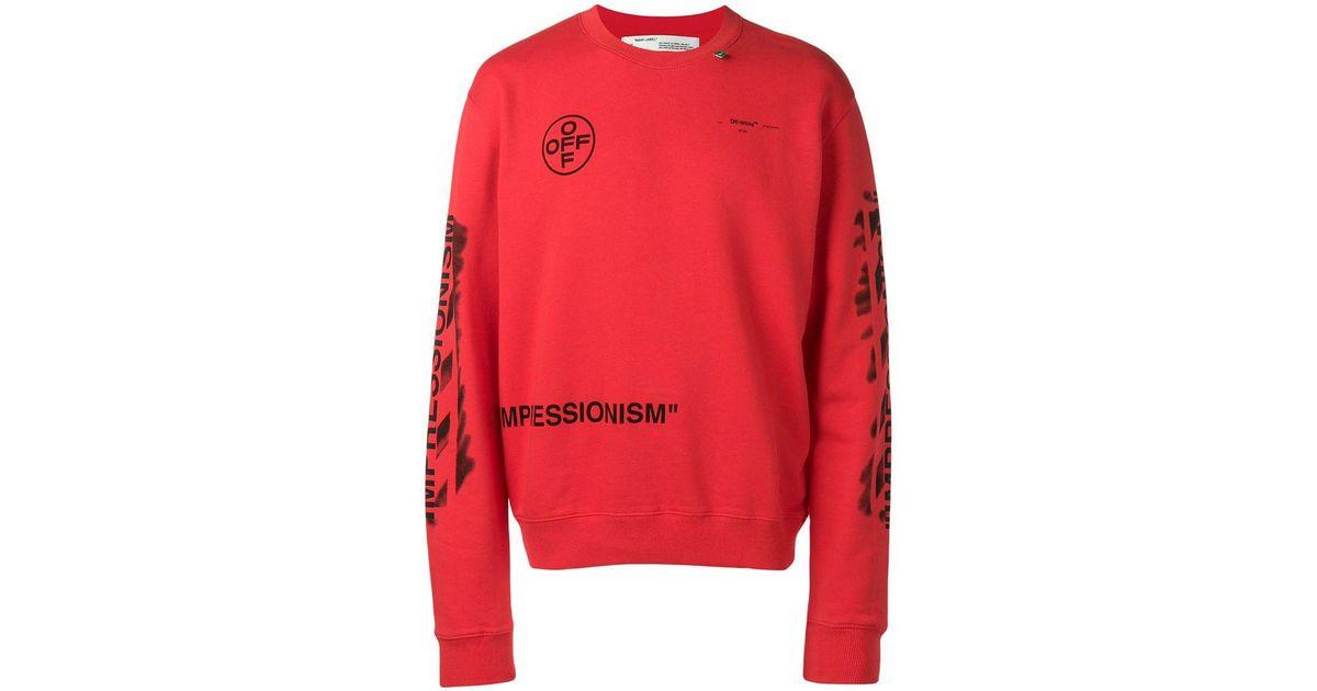 1c9abce4c23 Lyst - Off-White c o Virgil Abloh Diagonal Stencil Sweatshirt in Red for Men