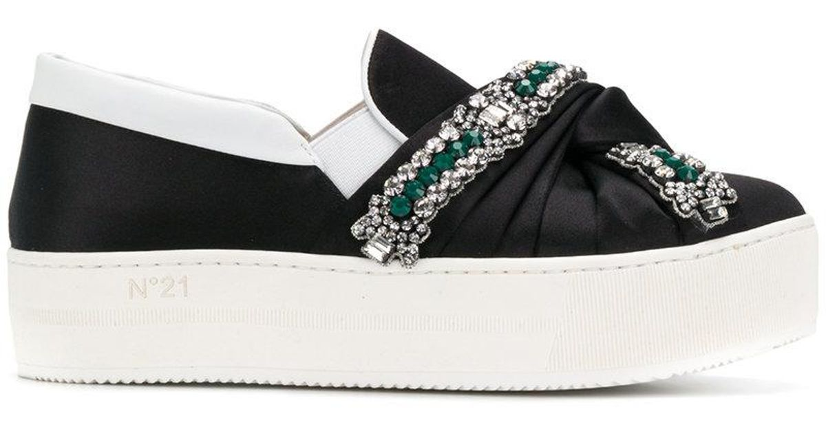 knotted platform embellished sneakers - Black N°21 w2coaSNUm