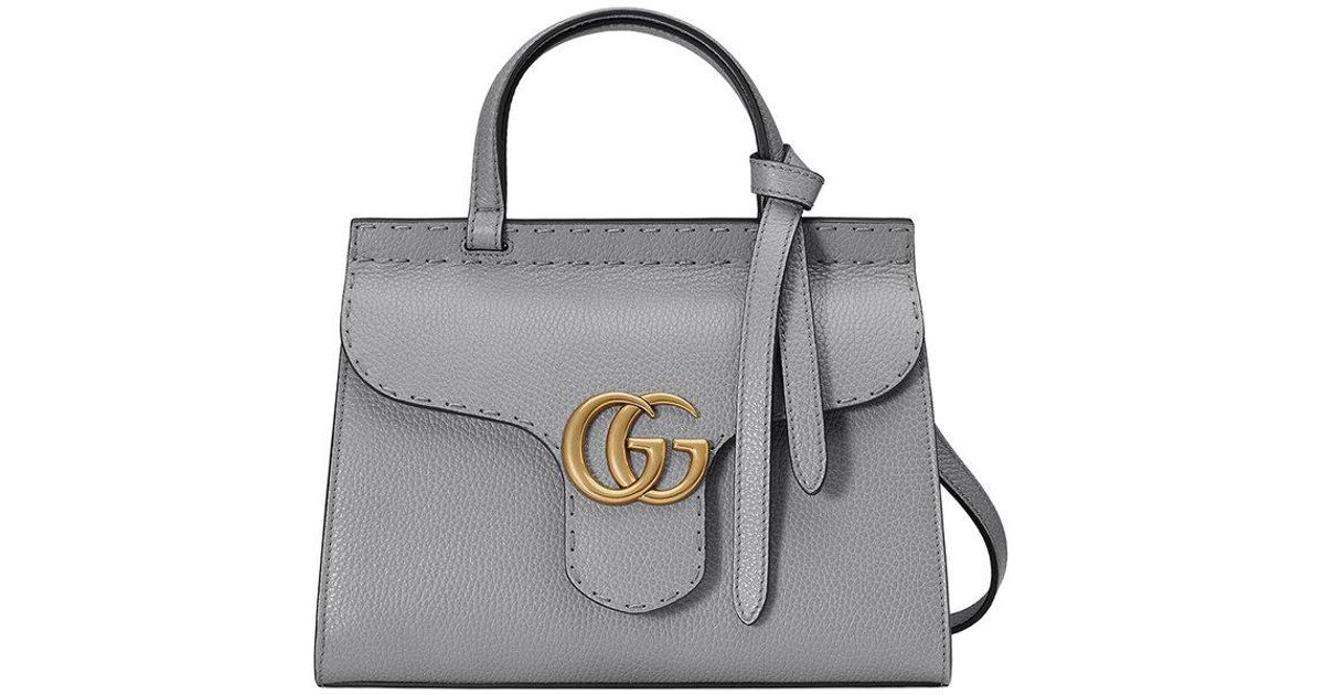 dd768ee1b4e0 Lyst Gucci Gg Marmont Leather Top Handle Mini Bag In Gray