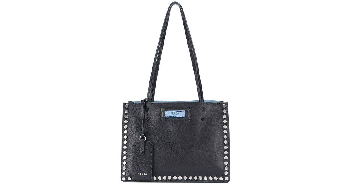 Lyst - Prada Etiquette Studded Tote Bag in Black b23296457746a