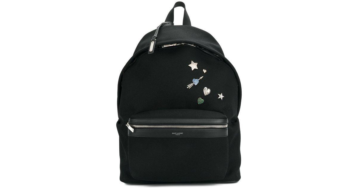 676cef1686 Lyst - Saint Laurent Logo   39 city  39  Backpack in Black