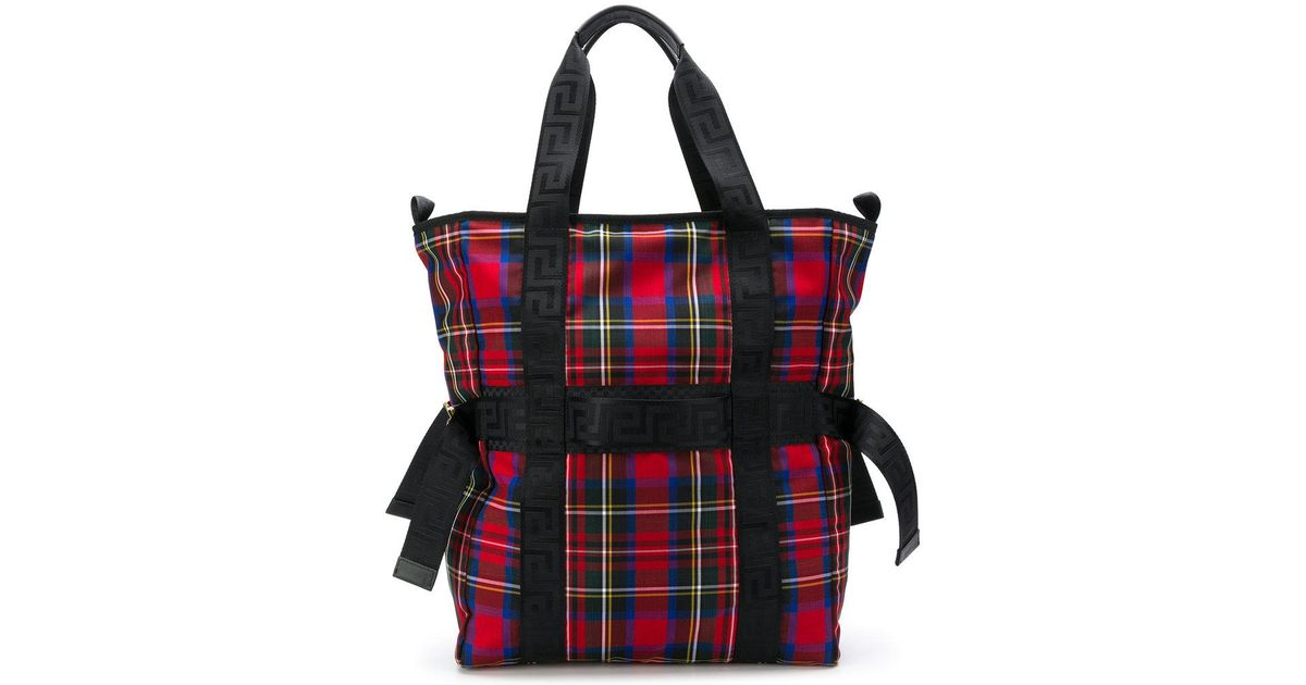 b26da8cad4 Lyst - Versace Checked Tote Bag in Red for Men