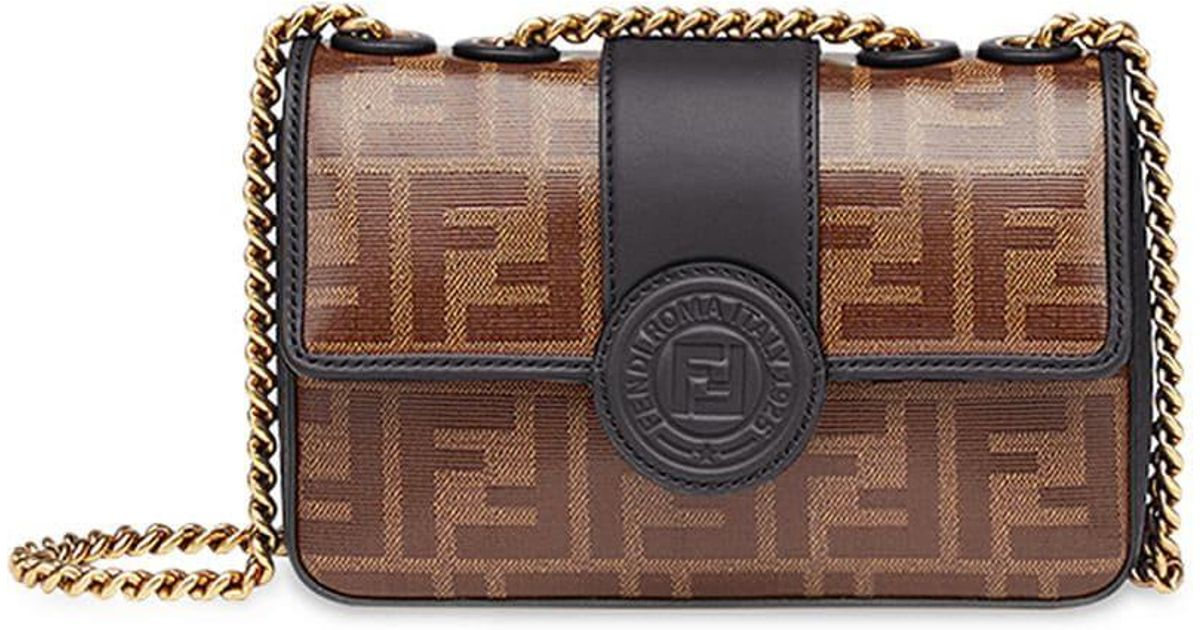 Fendi Brown Double F Logo Print Leather Cross Body Bag in Brown - Lyst 60e0b3cc2975f