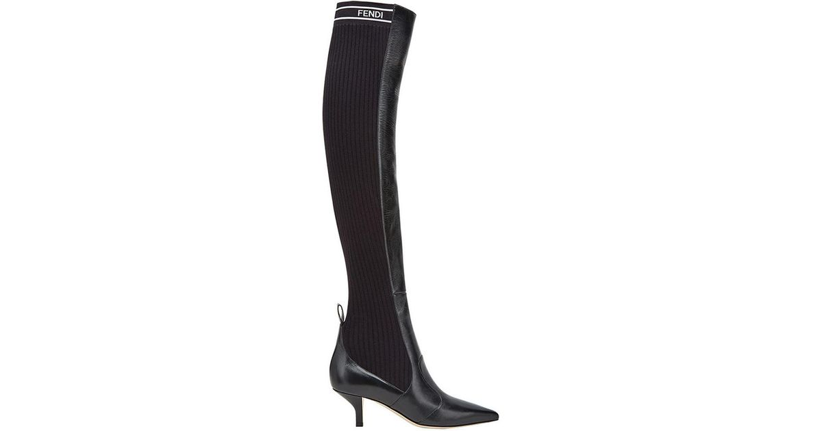 d0dcfd98288 Lyst - Fendi Rockoko Thigh-high Boots in Black