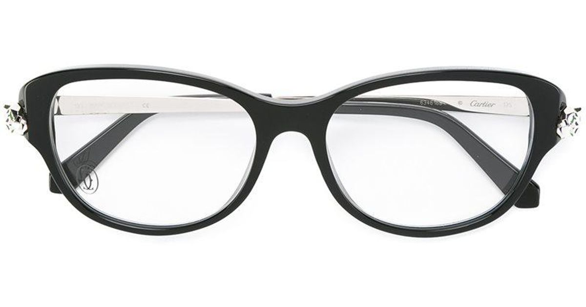 9966384529ed Lyst - Cartier  panthere  Optical Glasses in Black