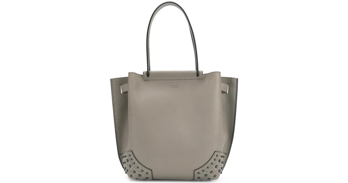 3131e7f85a Tod's Tonal Stud Detail Tote in Gray - Lyst