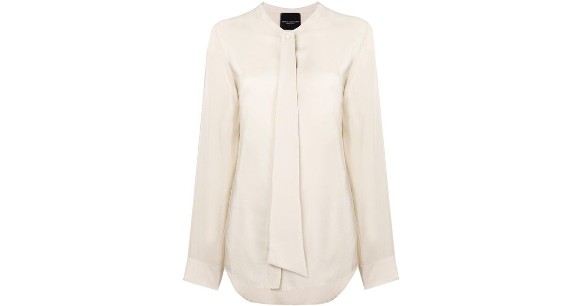 draped detail collarless blouse - Yellow & Orange Erika Cavallini Semi Couture Discount 2018 New Clearance Wiki Sale Newest yDq6TC