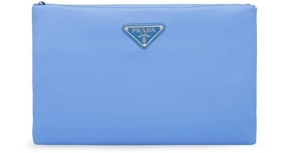 431b6073215e Prada Padded Clutch Bag in Blue - Lyst