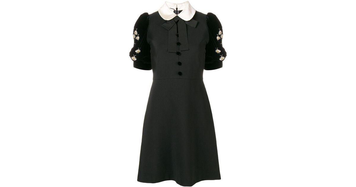 8e5525e13 Gucci Embellished Short-sleeve Dress in Black - Lyst