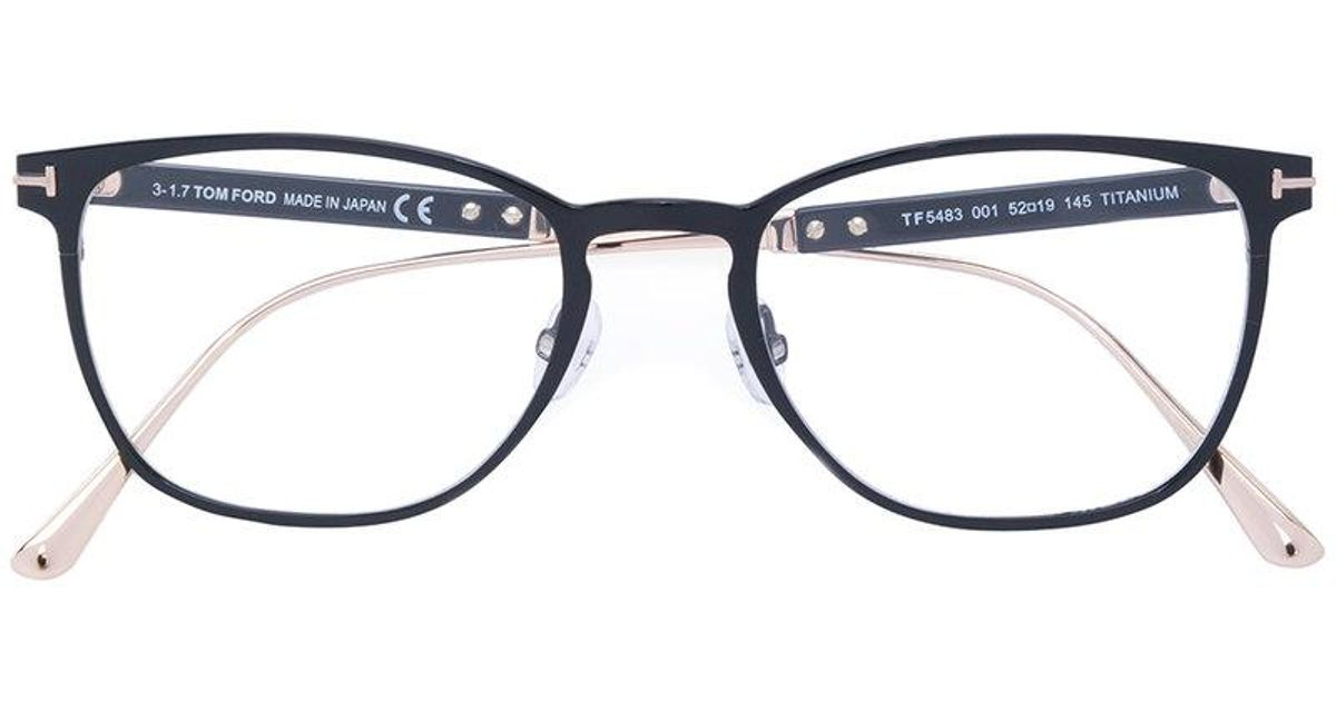 bc76a1807b Tom Ford Round Thin Frame Glasses in Black for Men - Lyst