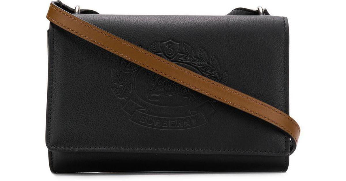 9f8f11f97c Lyst - Burberry Embossed Logo Shoulder Bag in Black