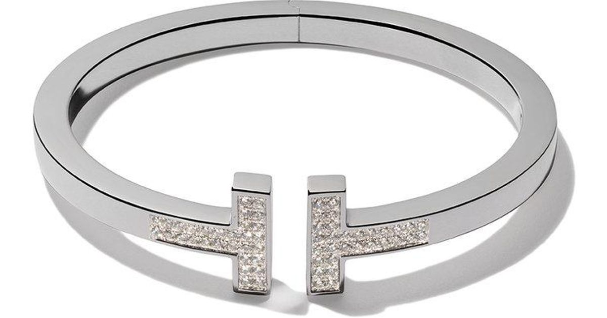 27fbdd4d8 Tiffany & Co. 18kt White Gold Tiffany T Square Diamond Cuff in Metallic -  Lyst