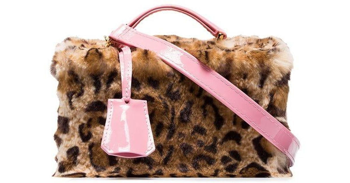 736ed42798d Lyst - Natasha Zinko Brown Leopard Print Faux Fur Patent Leather Trim Cross  Body Box Bag in Pink