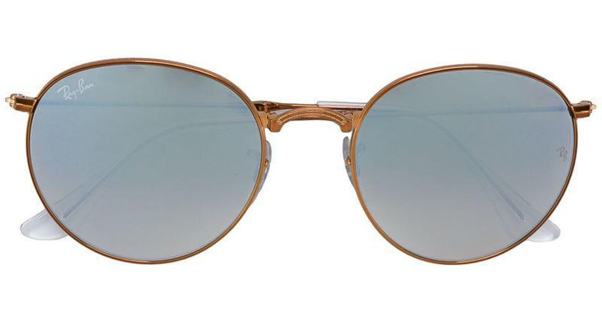1845570f65 Ray-Ban Round Framed Sunglasses in Metallic - Lyst