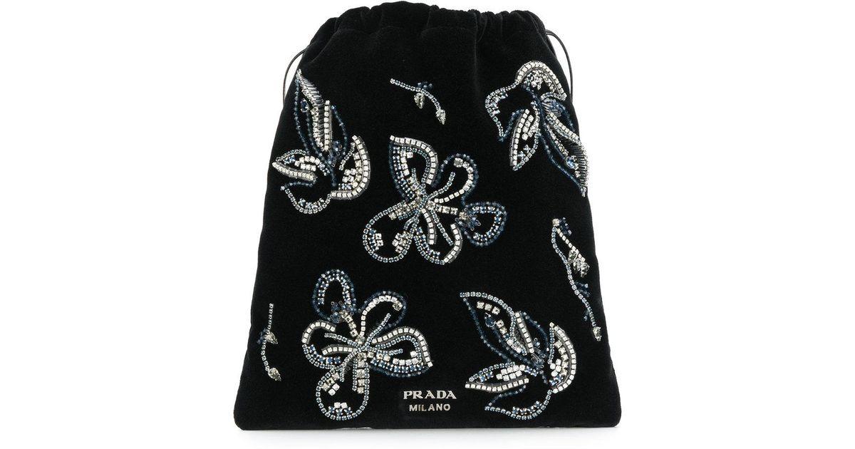 crystal embellished floral pouch - Black Prada F3XqiF