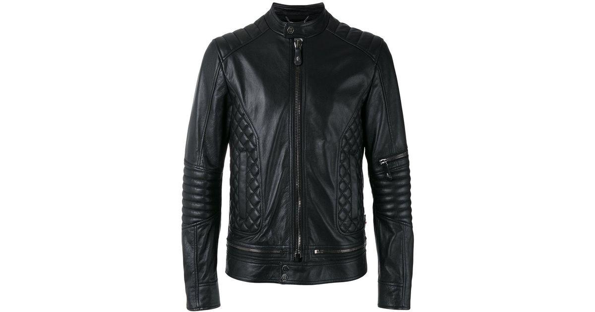 0c2cb51368c Lyst - Philipp Plein Quilted Panel Biker Jacket in Black for Men