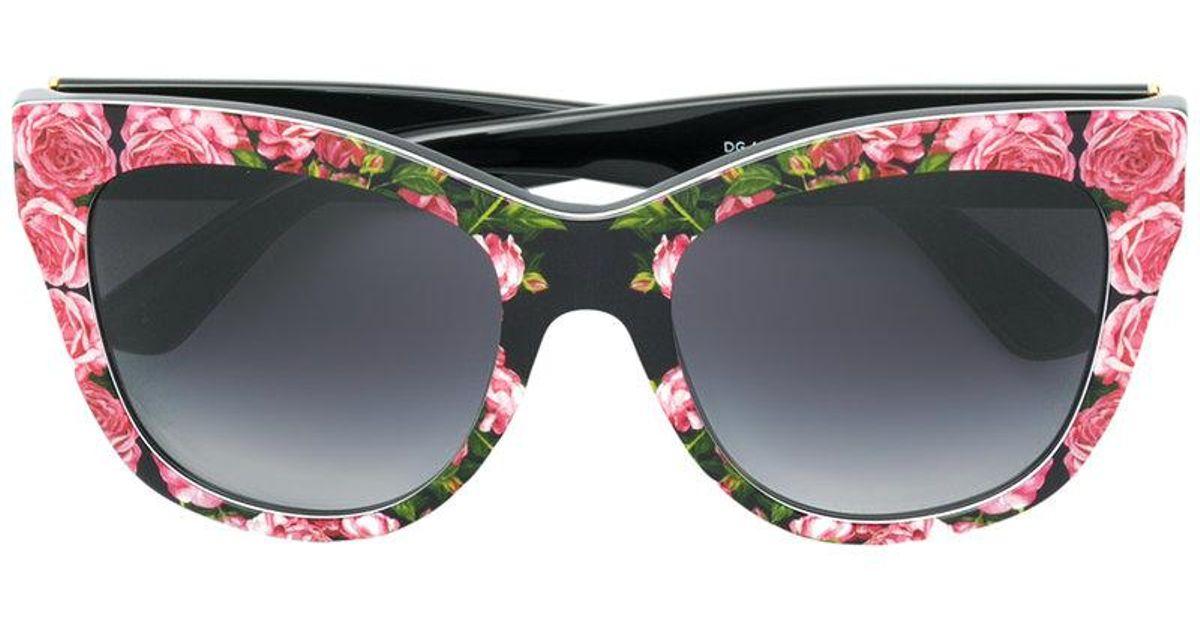 9537676e6798 Lyst - Dolce   Gabbana Rose Print Square Sunglasses in Black