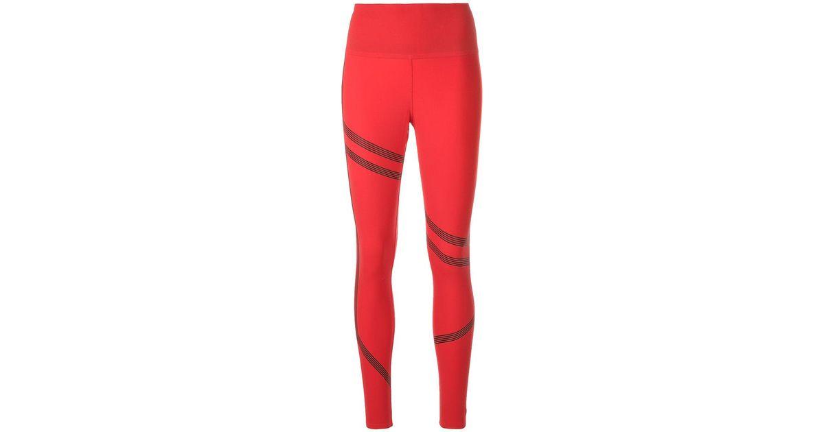 ce7e920804fa6 Reebok Linear High Rise Leggings in Red - Lyst